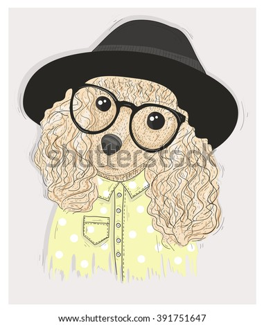 Cute hipster dog with glasses. Fashion illustration with poodle  - stock vector