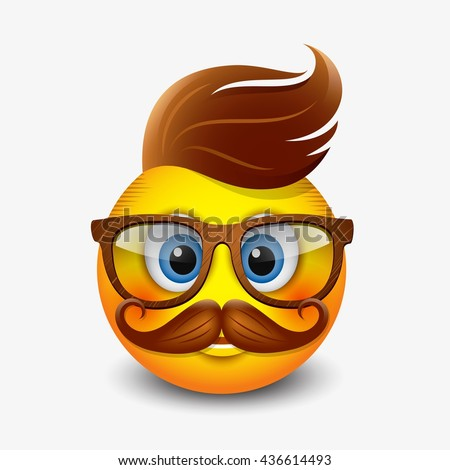 Cute hipster emoticon wearing eyeglasses and with ginger hear and mustaches, emoji, smiley - vector illustration - stock vector