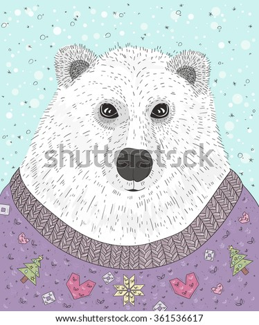 Cute hipster polar bear with christmas sweater. Winter illustration. - stock vector