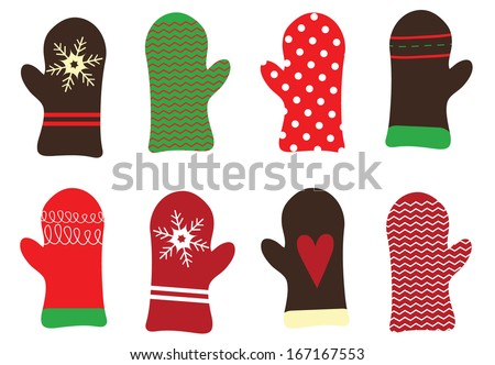 Cute Holiday Mitten Vector Set - stock vector