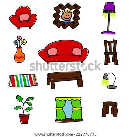Cute Home Furnishings - stock vector