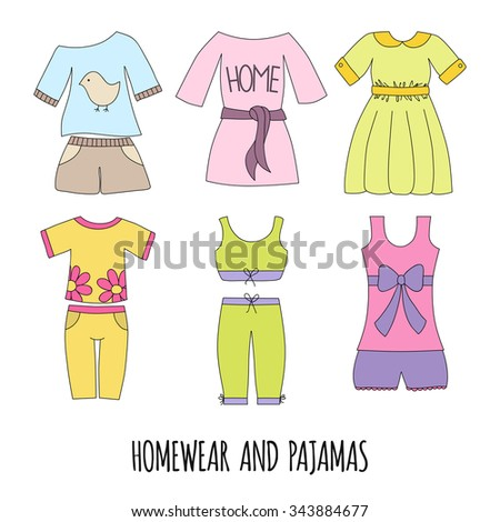 Cute homewear and pajamas set. Hand draw women's clothing.Vector illustration. - stock vector