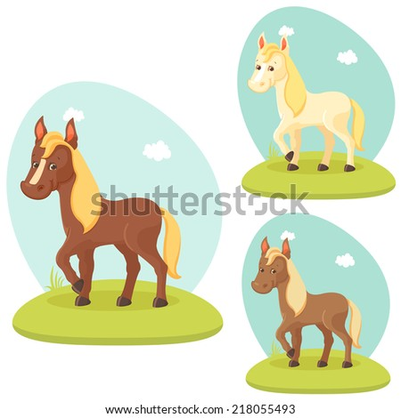 Cute horse - stock vector