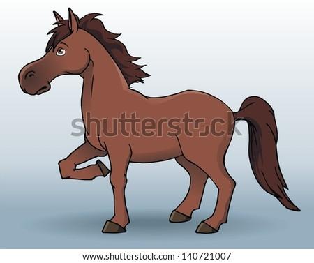 Cute horse cartoon - stock vector