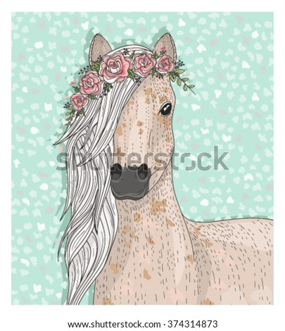 Cute horse with flowers. Fairytale background for kids or children - stock vector