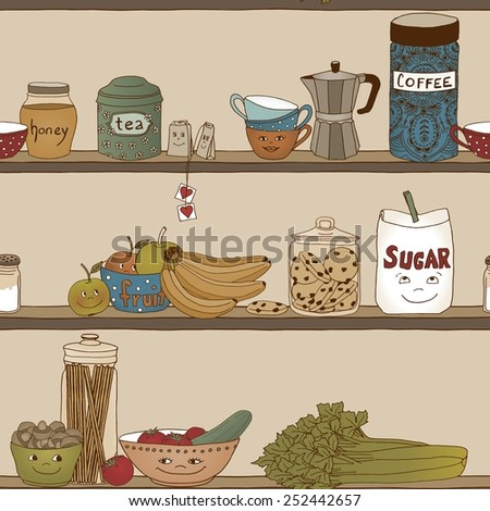 Cute illustration of a kitchen shelf with different food items (seamless pattern) - stock vector