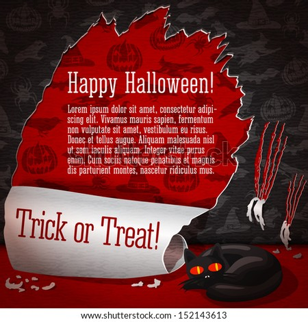 Cute illustration of cat, torn apart the halloween wallpapers and look like she did not do that. With red halloween wallpapers underneath, halloween greeting and place for your text. Vector - stock vector