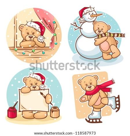 Cute Illustration Of Christmas Teddy Bears, for xmas design. - stock vector