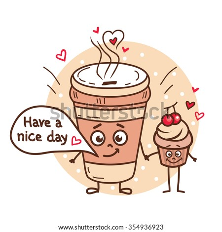 Cute illustration of coffee cup and cupcake with funny doodles. International friends day. - stock vector
