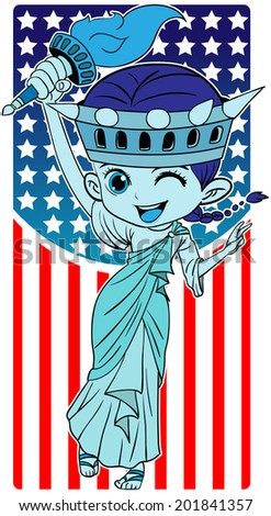 Cute illustration of the Statue of Liberty for the celebrations. - stock vector