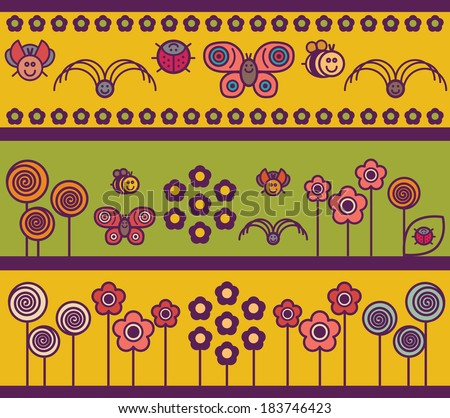 Cute insects set from typical little insects with flowers - stock vector