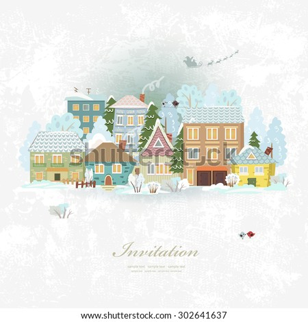 Cute invitation card with winter city life and space for text. Merry Christmas. - stock vector