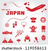 cute japan travel set - stock vector