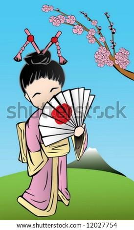 cute japanese geisha with a fan - stock vector