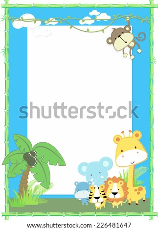 cute jungle baby animals jungle plants and bamboo frame - stock vector