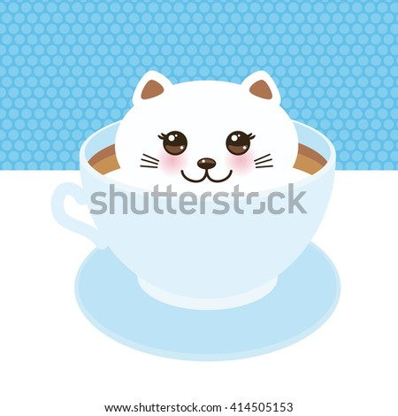 Cute Kawai cat in blue cup of  froth art coffee, coffee art isolated on white background. Latte Art 3D. milk foam top on the cup of hot coffee or chocolate. Vector illustration - stock vector
