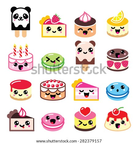 Cute Kawaii dessert - cake, macaroon, ice-cream icons  - stock vector
