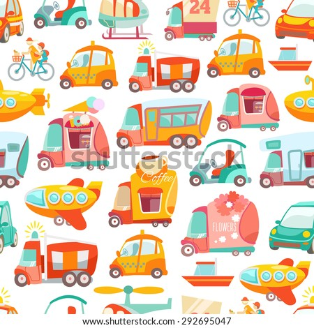 Cute kawaii seamless pattern with various transport: cars, bus, airplane, truck. Vector illustration - stock vector