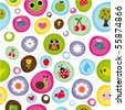 Cute kid pattern with little animals bugs and fruit in vector - stock vector