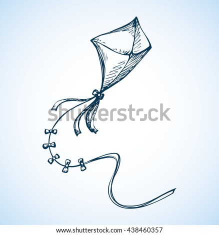 Cute kid tethered bow wing isolated on white backdrop. Freehand outline ink hand drawn picture sketchy in art retro scribble style pen on paper. Closeup view with space for text on heaven - stock vector