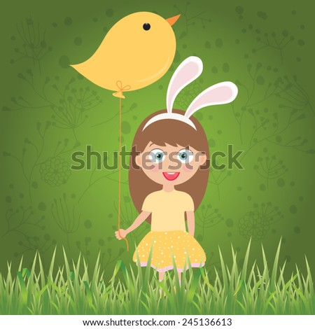 Cute kid with easter bunny and decorated eggs. - stock vector