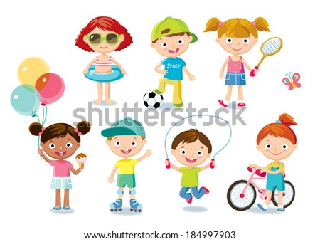 cute kids - stock vector
