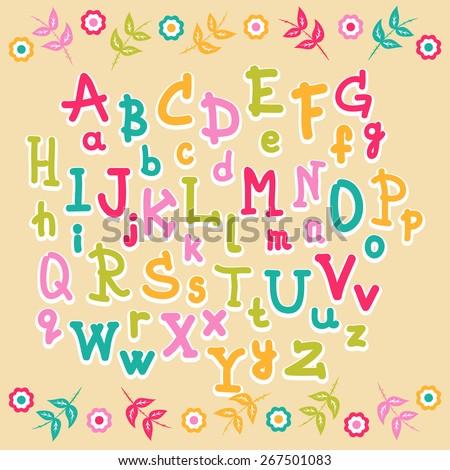 cute kids colorful alphabet - stock vector