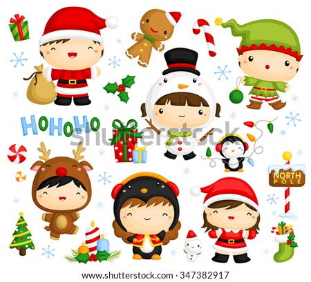Cute Kids in Christmas Costume - stock vector