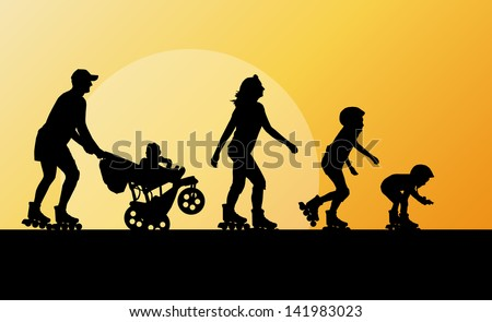 Cute kids, mother, father with cart in roller skates vector background family concept - stock vector