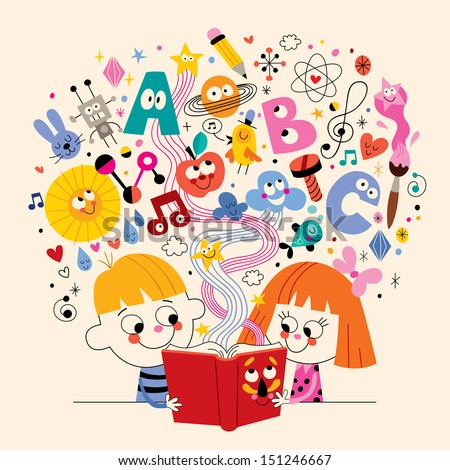 cute kids reading book education concept illustration - stock vector