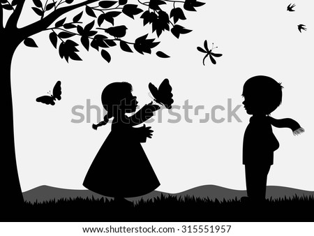 Cute kids silhouettes - stock vector