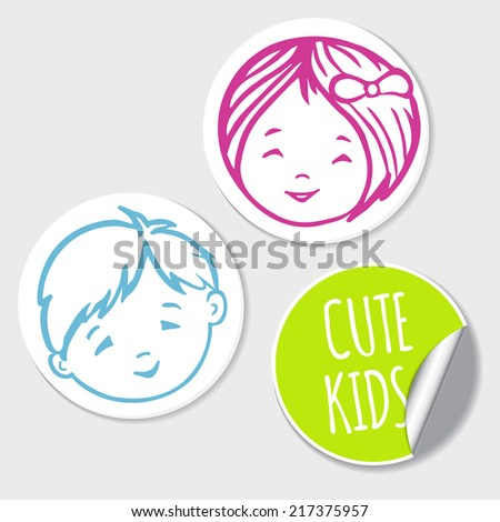 Cute Kids Sticker Set / Vector Illustration - stock vector