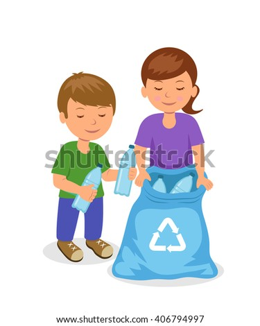 Cute kids to gathering plastic bottles in garbage bag. The concept of environmental protection. Isolated boy and girl characters volunteers. - stock vector
