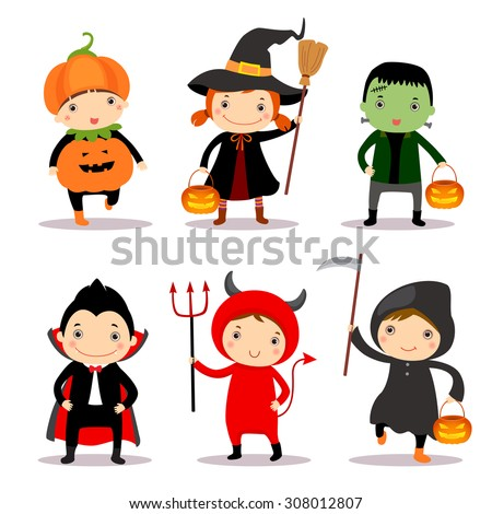 Cute kids wearing halloween costumes - stock vector