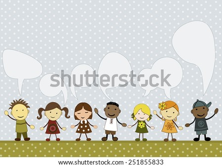 Cute kids with speech bubbles - stock vector
