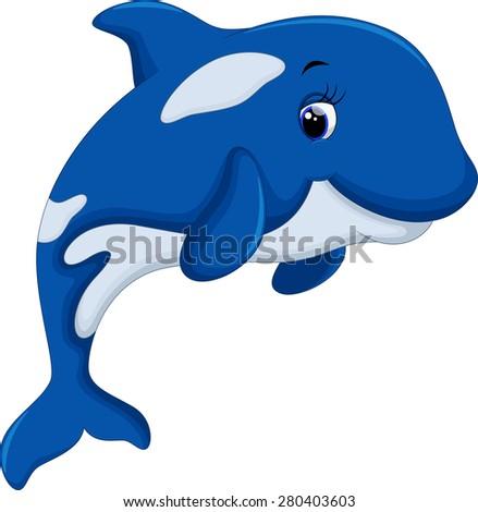 Cute killer whale cartoon - stock vector