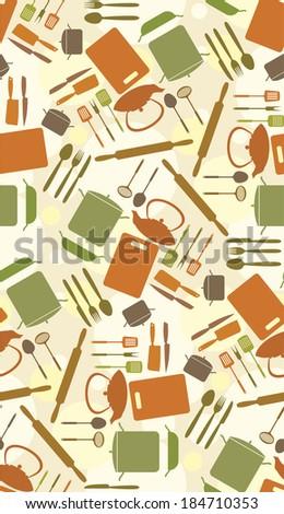 cute kitchen pattern - stock vector