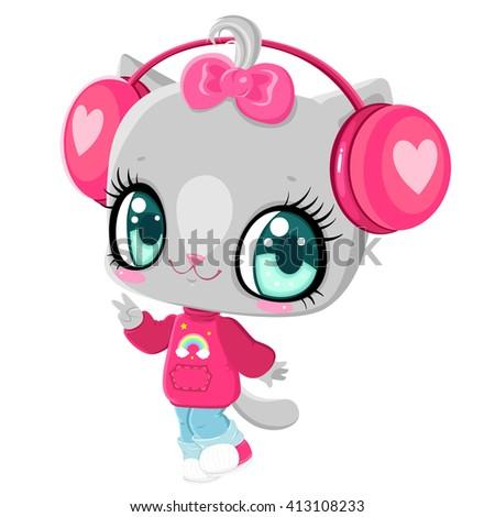 Cute kitten with headphones. Cat listening to music. I love music. Children's character. - stock vector