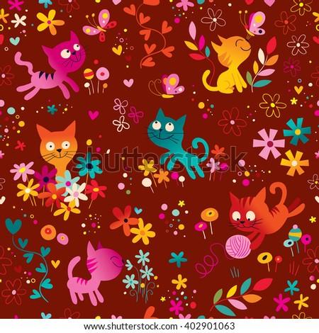 cute kittens, butterflies, flowers seamless pattern - stock vector