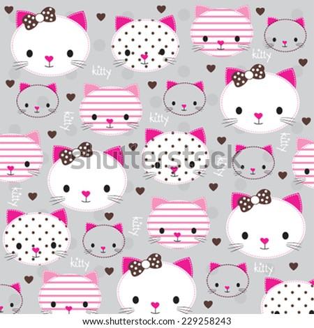 cute kitty head with heart pattern vector illustration - stock vector