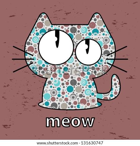 Cute kitty seamless texture illustration - stock vector