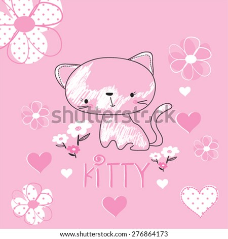 cute kitty with flowers, T-shirt design vector illustration - stock vector