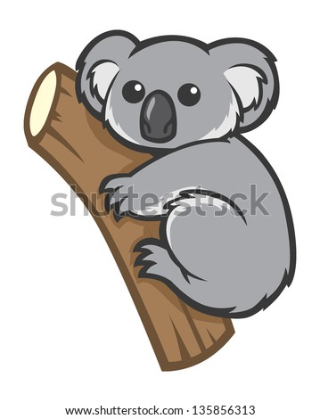 Cute Koala Clipart Cute koala on a tree - stock