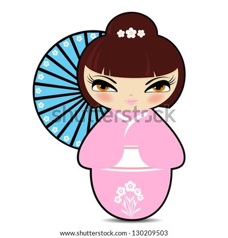 Cute Kokeshi doll: vector cartoon - stock vector