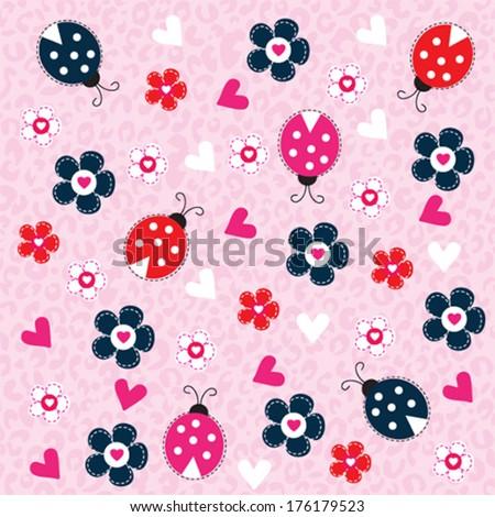 cute ladybird pattern vector illustration - stock vector