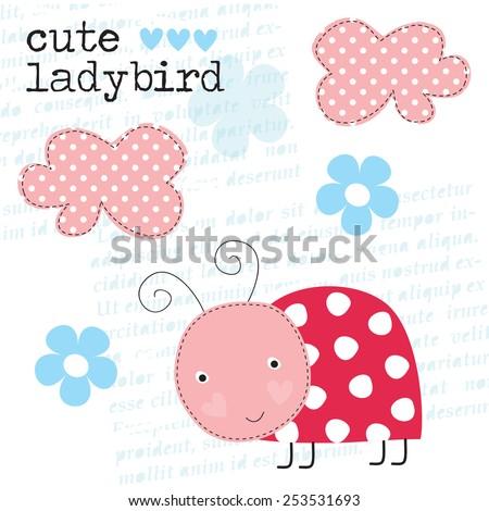 cute ladybird vector illustration - stock vector