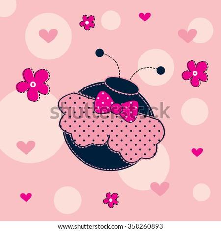 cute ladybird with flower vector illustration - stock vector