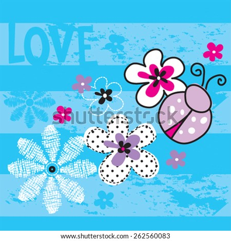 cute ladybug with flowers, T-shirt design vector illustration - stock vector