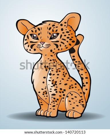 Cute leopard. Vector illustration - stock vector