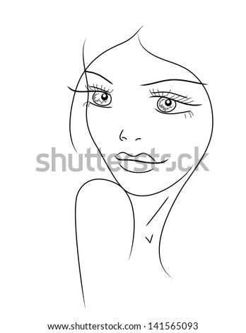 cute line art girl - stock vector